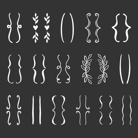 Hand drawn brackets set. Vector doodle icon. Illustration