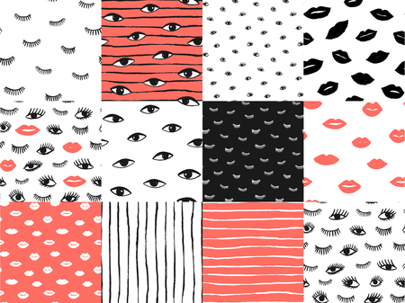 Hand drawn eye doodles icon seamless pattern set in retro pop up style. Vector beauty illustration of open and close eyes for card, fabric, textile, wallpaper, background. Coral red color