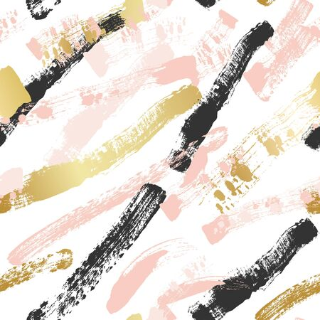 Abstract vector seamless pattern background, brush illustration. Pink, golden ink brush stripes texture
