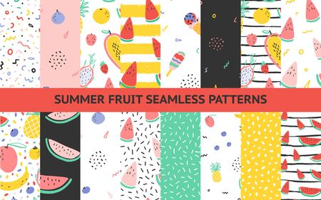 Vector tropical fruit background collection set with pineapple, mango, watermelon, dragon fruit, Pitaya, banana, papaya. Summer exotic fruit seamless pattern with memphis style elements