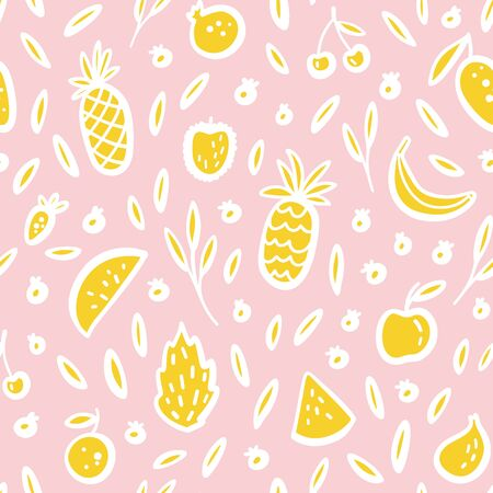 Vector tropical fruit background with pineapple, mango, watermelon, dragon fruit,banana, papaya. Summer exotic fruit seamless pattern for kids, baby clothes