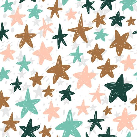 Hand drawn cute kids abstract seamless pattern. Stars space simple background for nursery. Cartoon illustration