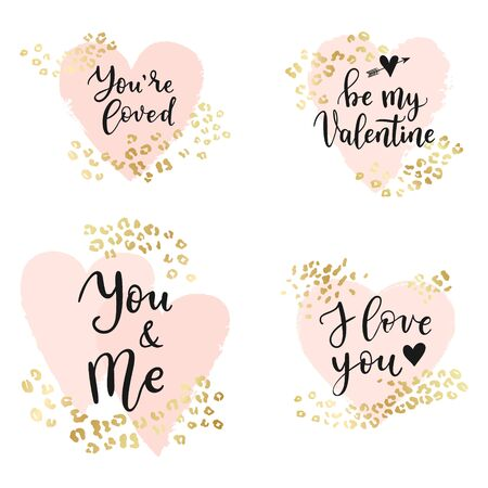 I love yoy, Be me Vlentine quotes. Abstract geometric vector background, brush paint illustration, frame, element, shape set. Pink ink brush stroke with rich golden exotic leopard animal skin texture