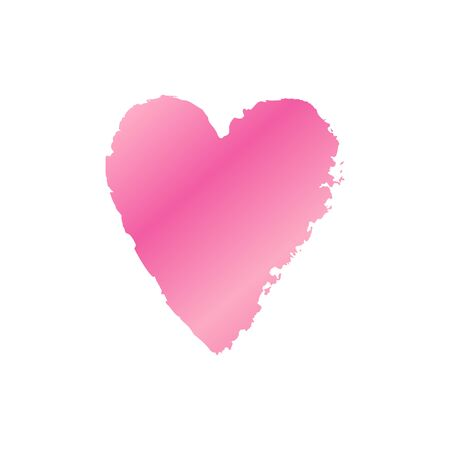 Vector ink pink gradient heart logo, shape, symbol on Happy Valentines Day. Silhouette in grunge style