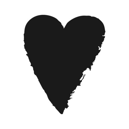 Vector ink black heart logo, shape, symbol on Happy Valentines Day. Silhouette in grunge style