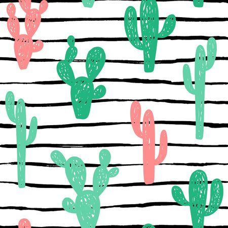 Hand drawn cute kids abstract seamless pattern with cactus, stripes. Rustic, boho simple colorful background. Cartoon illustration
