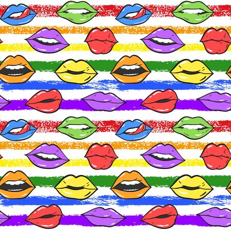 Beauty, makeup, cosmetic fashion seamless pattern. Vector red pink color doodle lips patches in pop art 80s-90s style. Womans sexy emotions mouth.