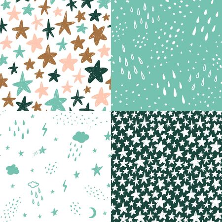Hand drawn cute kids abstract seamless pattern. Rustic, boho simple colorful background. Cartoon stars, clouds, rain, sky, polka dots illustration
