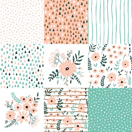 Hand drawn cute kids abstract seamless pattern. Rustic, boho simple colorful background. Cartoon flowers, polka dots, stripes illustration
