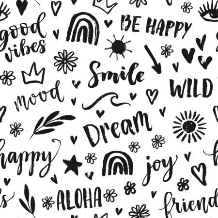 Vector seamless pattern with text, inscription, quote, sticker, lettering, happy, mood, friends, hearts, sun, rainbow, crown, star, arrow, wave words. Teens doodle bachground Ilustrace