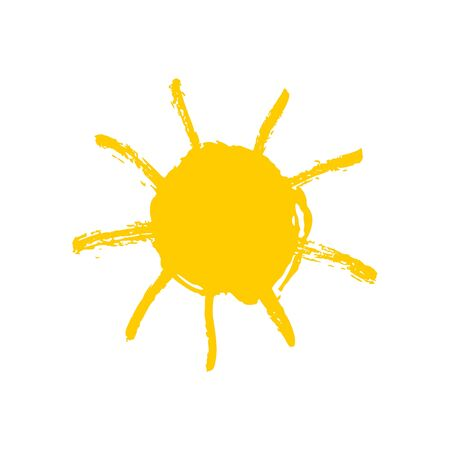 Vector hand drawn yellow sun. Doodle cure illustration