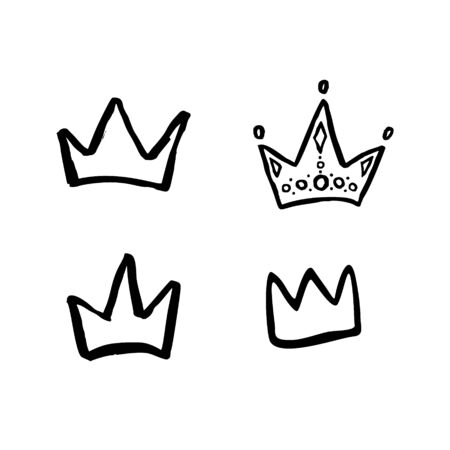 Vector hand drawn yellow crown set. Doodle cure illustration