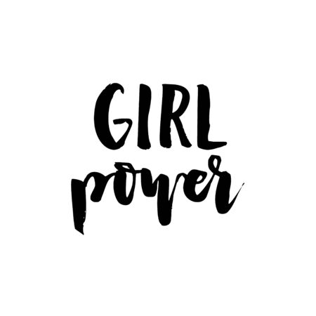 Vector Girl power text, inscription, quote, sticker, lettering. Teens doodle bachground Ilustrace