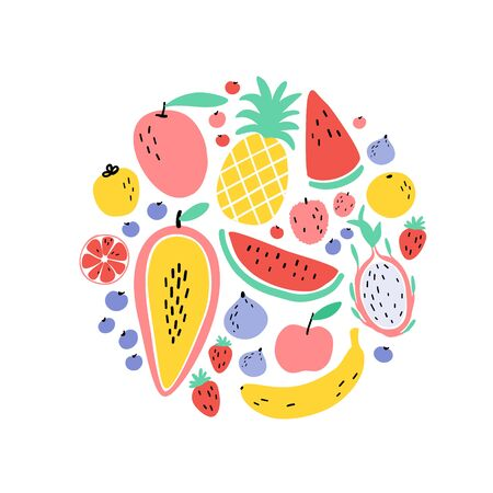 Vector tropical fruit circle background with durian, pineapple, mango, watermelon, dragon fruit, Pitaya, banana, papaya. Summer exotic fruit