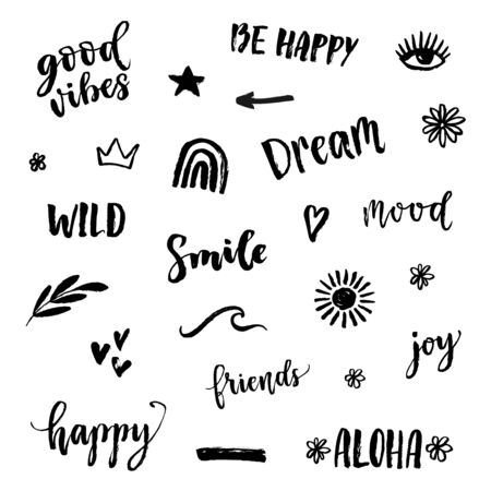 Vector icons set with text, inscription, quote, sticker, lettering, happy, mood, friends, hearts, rainbow, sun, crown, star, arrow, wave words. Teens doodle bachground