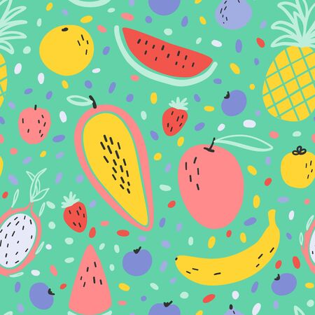 Vector tropical fruit background with durian, pineapple, mango, watermelon, dragon fruit, Pitaya, banana, papaya. Summer exotic fruit seamless pattern on stripes Ilustrace