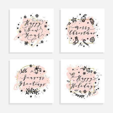Christmas and Happy New Year wishes for labels, emblems, logo, text, greeting cards set. Vector winter holidays backgrounds with hand lettering calligraphy. White smear, golden geometric frame