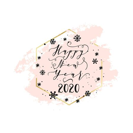 Christmas and Happy New Year wishes for labels, emblems, logo, text, greeting cards. Vector winter holidays backgrounds with hand lettering calligraphy. White smear, golden geometric frame