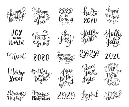 Merry and Bright Christmas, Happy Holidays, Happy New Year labels, emblems, logo, text, greeting cards set. Vector winter holidays backgrounds with hand lettering calligraphy