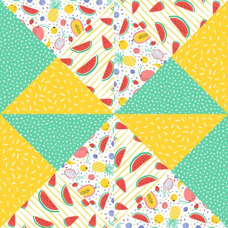 Vector tropical fruit background with durian, pineapple, mango, watermelon, dragon fruit, Pitaya, banana, papaya. Summer exotic fruit seamless pattern on stripes. Quilting fabric illustration