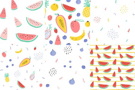 Vector tropical fruit background with durian, pineapple, mango, watermelon, dragon fruit, Pitaya, banana, papaya. Summer exotic fruit seamless pattern set collection. Quilting fabric illustration Illustration
