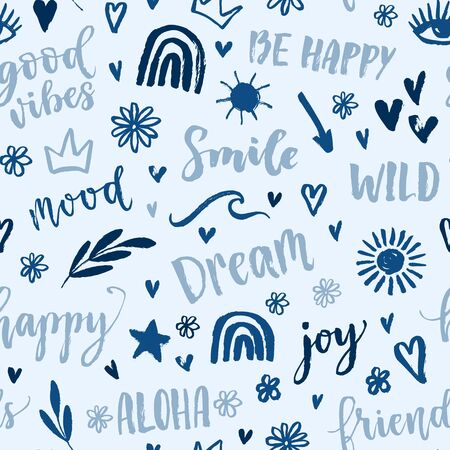 Vector seamless pattern with text, inscription, quote, sticker, lettering, happy, mood, friends, hearts, sun, rainbow,crown, star, arrow, wave words. Teens doodle background