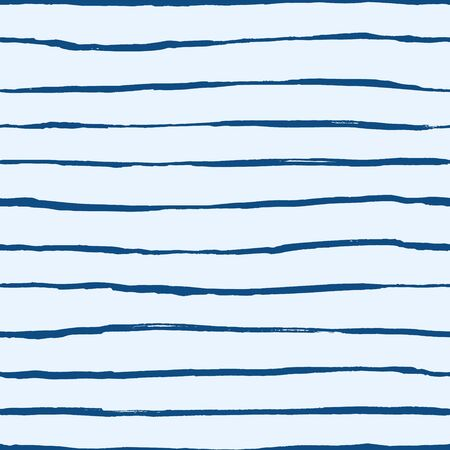 Hand drawn cute kids abstract seamless pattern. Rustic, boho simple colorful blue background. Cartoon stripes illustration Ilustrace