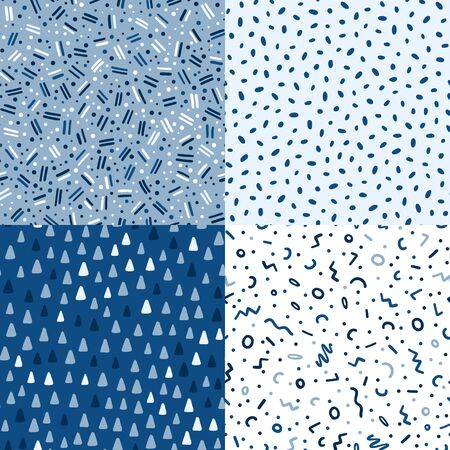 Hand drawn cute kids abstract seamless pattern set. Rustic, boho simple colorful blue background. Cartoon polka dots illustration