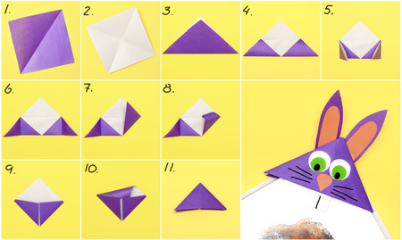 Come realizzare un segnalibro di carta origami a forma di coniglietto per gli auguri di Pasqua. Progetto artistico per bambini. Concetto fai da te. Istruzioni fotografiche passo passo