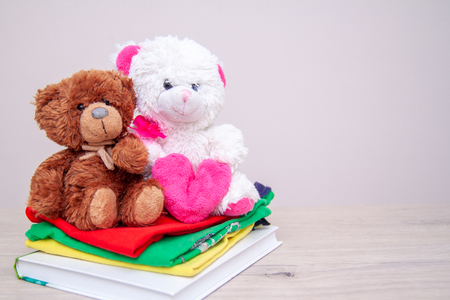 Donation concept. Donate box with kids clothes, books, school supplies and toys. Teddy bear with big pink heart in hands. Copyspace for text Stock Photo