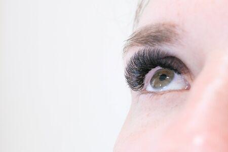 Eyelash Extension Procedure. Woman Eye with Long false Eyelashes. Copyspace. Close up macro shot of fashion eyes visagein in beauty salon