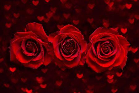 Carta di San Valentino con tre rose rosse su fondo di boke cuore scuro. Concetto di amore e giorno del matrimonio Archivio Fotografico