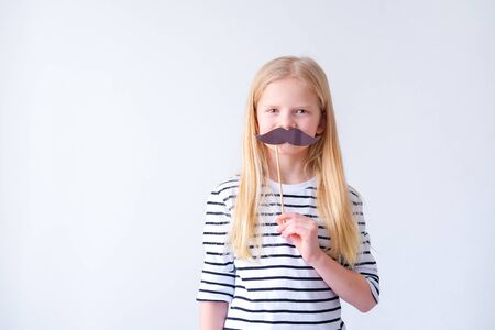 Blonde girl with mustache on white