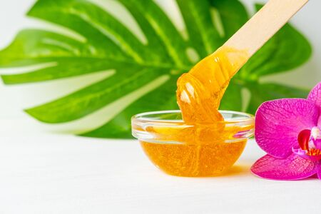 depilation and beauty concept - sugar paste or wax honey for hair removing flows down from wooden waxing spatula sticks on flower background. copyspase