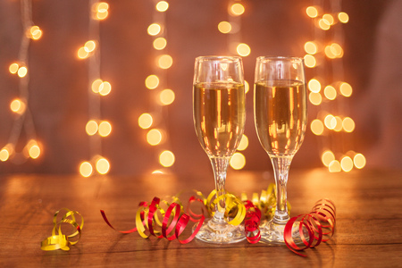 New year, champagne glasses, horizontal photo, bokeh