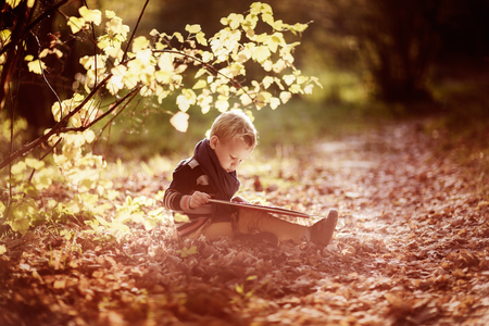 personas leyendo: autumn baby boy consider reading a book under a tree with yellow leaves