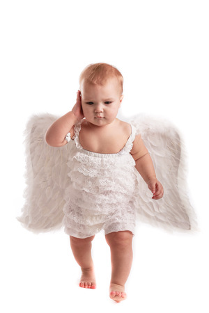 children love: Business baby girl talking with phone in hand, playing, socializing, business, angel,wings, feathers,  white background
