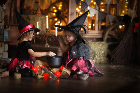 Two little Halloween  witches in costumes and hats  reading conjure above pot   childhood halloween, dark background