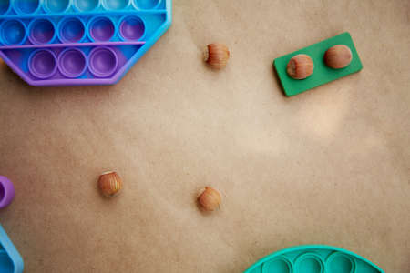 Curious came up with a game with a trendy pop it toy and hazelnuts. Game for the development of motor skills. The rainbow touch fidget will nudge him. View from above. Copy space. High quality photo Standard-Bild