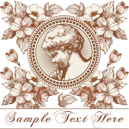 Angel Prayer Easter Boy baby child. Frame baroque. Drawing engraving. Vintage background realistic flowers. Wildflowers isolated. Greeting invitation thanks card. Illustration