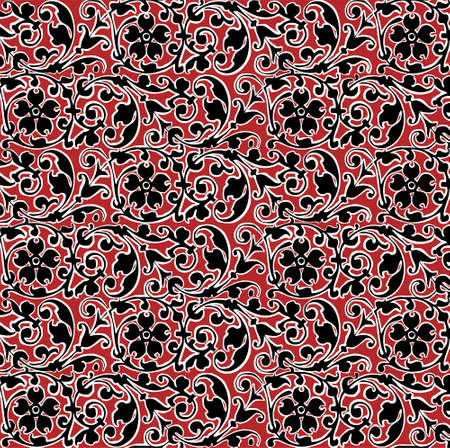 classic pattern. Beautiful flowers isolated textile. Vintage background realistic. Damascus flowers. Drawing engraving. Freehand Wallpaper baroque. victorian style Illustration.