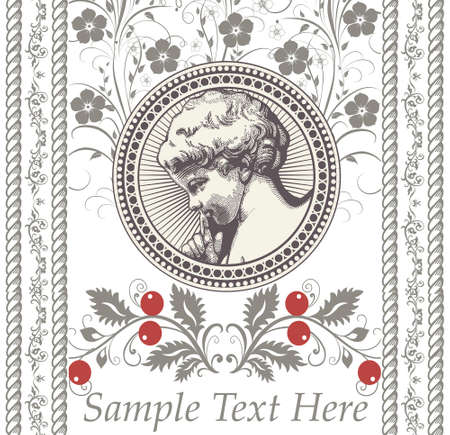 Angel Prayer Easter Boy baby child. Frame baroque. Drawing engraving. Vintage background realistic flowers. Wildflowers isolated. Greeting invitation thanks card. victorian wedding Illustration