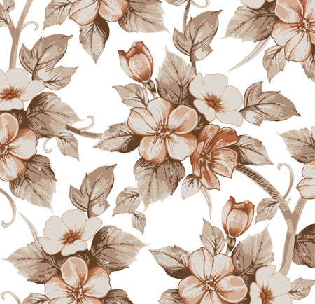 Flowers border. Drawing engraving. Freehand realistic pattern. Beautiful background retro. Baroque. Floral blooming isolated. Wallpaper plant pink. Vintage victorian illustration.