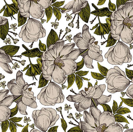 Brier, dog rose, rose hip. Classic pattern. Beautiful white realistic blooming isolated flowers baroque. Vintage background. Drawing engraving. Freehand Wallpaper. victorian style Illus Ilustração