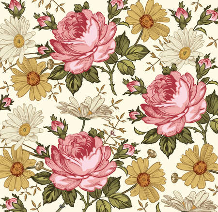 Beautiful pink and white baroque flowers. Vintage background realistic blooming flowers. Chamomile, Rose, wildflowers. Drawing, engraving textile. Freehand. victorian style Illustration.