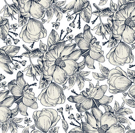 Brier, dog rose, rose hip. Classic pattern. Beautiful white realistic blooming isolated flowers baroque. Vintage background. Drawing engraving. Freehand Wallpaper. Vector victorian style Illustration.