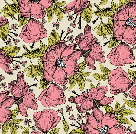 Brier, dog rose, rose hip. Classic pattern. Beautiful white realistic blooming isolated flowers baroque. Vintage background. Drawing engraving. Freehand Wallpaper. Vector victorian style Illustration. Vektorgrafik