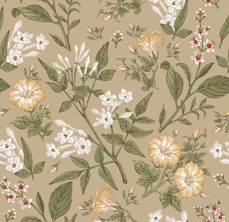 Seamless pattern. Beautiful fabric blooming realistic isolated flowers. Vintage background. Set Jasmine Petunia Croton wildflowers. Wallpaper baroque. Drawing engraving. Vector victorian illustration.