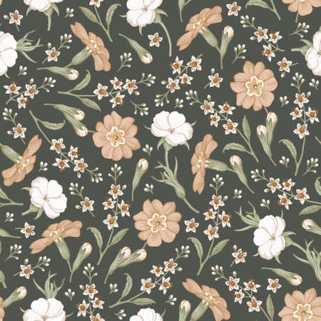 Seamless pattern. Realistic blooming isolated flowers Vintage fabric background. Beautiful Agrostemma Primrose Croton wildflowers. Wallpaper baroque. Drawing engraving. Vector victorian Illustration Ilustração