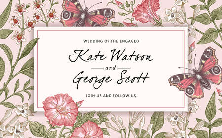 Wedding invitation bouquet. Butterflies peacock moths. Blooming flowers vintage greeting card. Frame Baroque Drawing engraving. Jasmine Petunia Croton isolated Wallpaper background Vector illustration Illustration